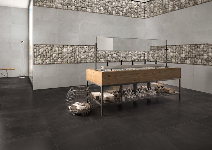 Architect Resin Bruxelles Black 80x80 - Grey 40x80 Amb. Bagno Ristorante di Emilceramica Group