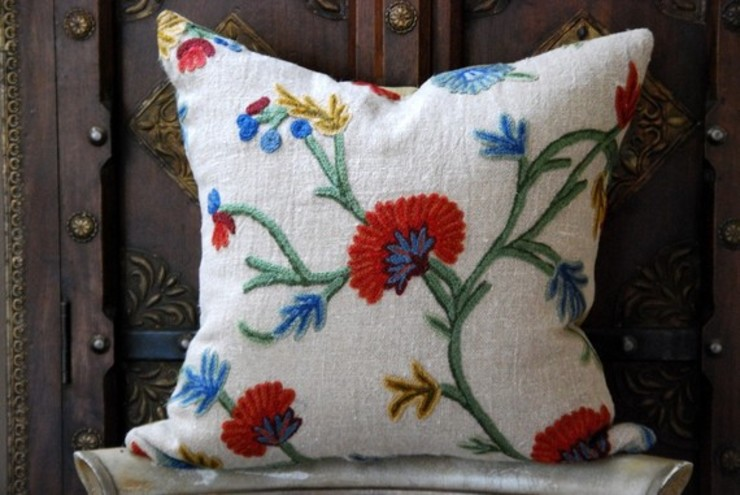 Crewel Cushion by Crewel Fabric From Zia Enterprises
