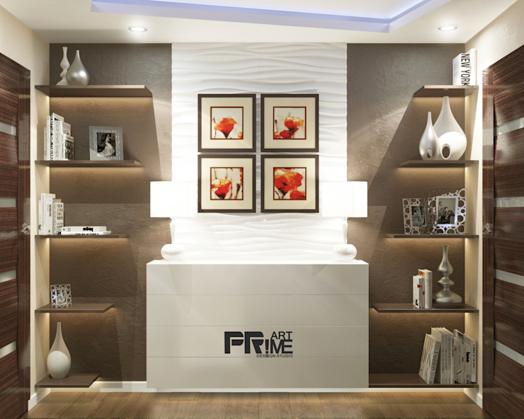 Раздвигаем пространство Коридор, прихожая и лестница в стиле минимализм от 'PRimeART' Минимализм
