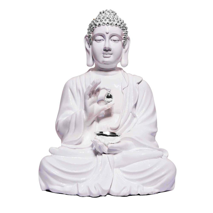 Polystone Lord Buddha Lotus Sculpture Holding Silver Alms Bowl: classic  by M4design,Classic