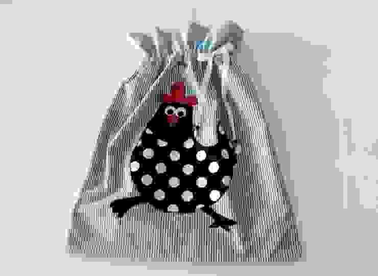Ceviz El İşleri – Tavuk aplikeli mavi ekmek torbası: modern tarz , Modern