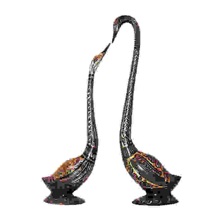 Fine Engraved Black Swan Pair Brass Sculpture by M4design