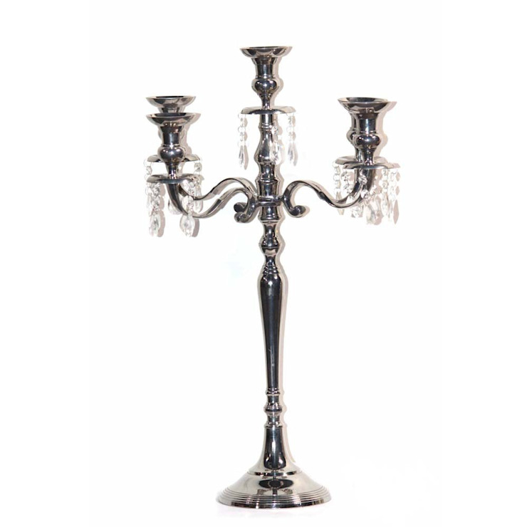 Nickel Plated 5 – Arm Crystal Drop Candelabra by M4design
