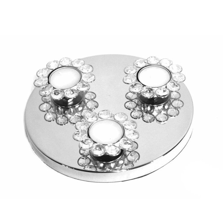 Silver Shine Triple Tea Light Candle Holders by M4design