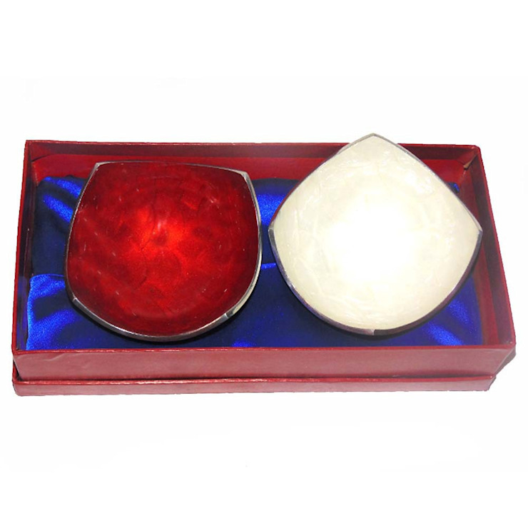 Red and White Enamel Serving Bowl Set of 2 Piece by M4design