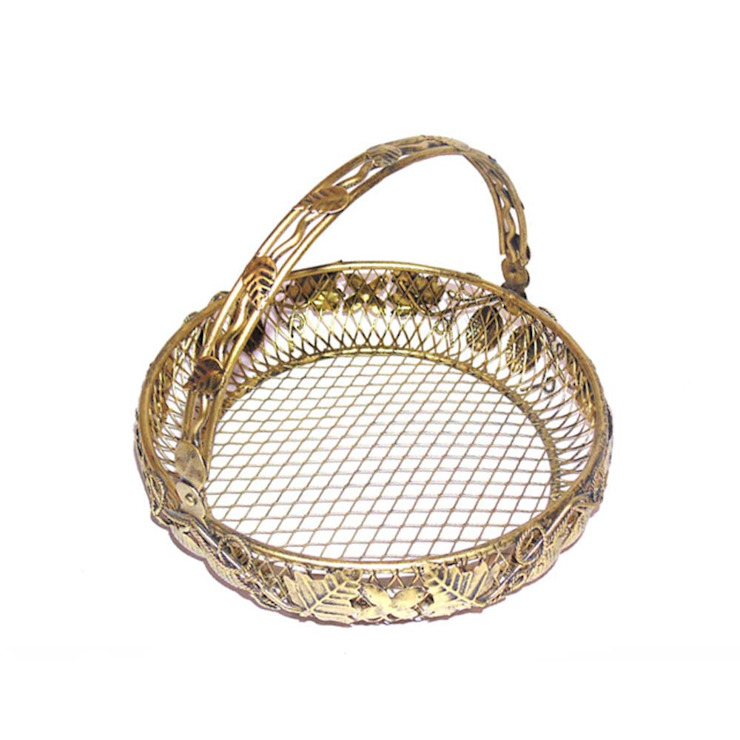Leaf Engraved Round Wired Basket With Handle by M4design