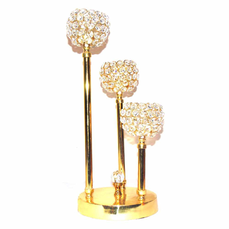 Italian Crystal Beaded Gold Plated Triple T-lite Candle Holders by M4design