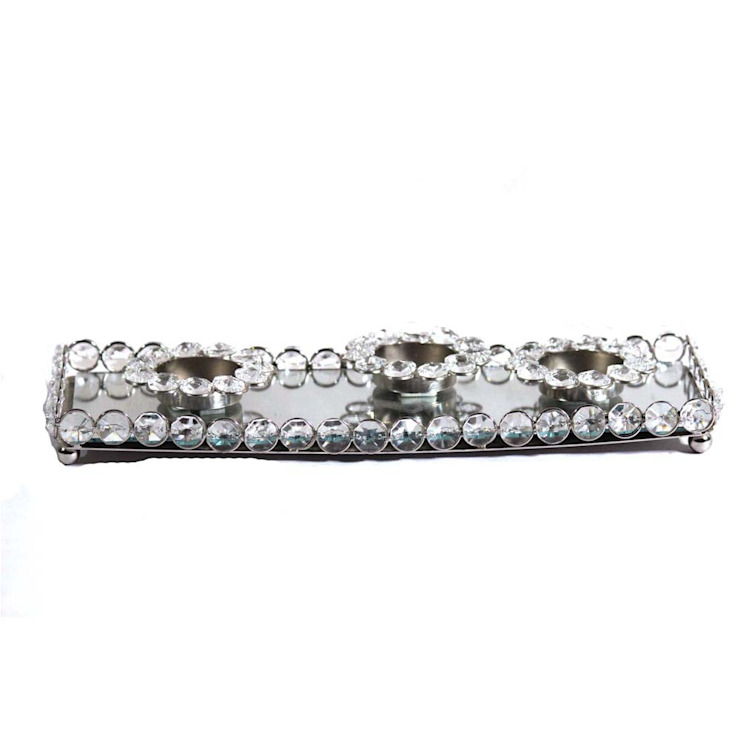 Crystal And Mirror Decor Triple Tealight Holders by M4design