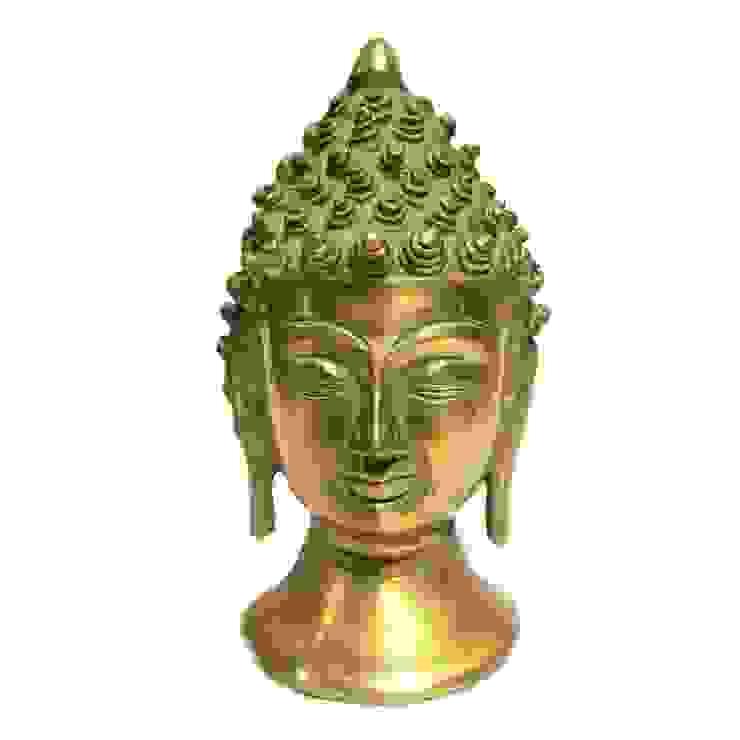 Green Patina Brass Buddha Head Statue by M4design