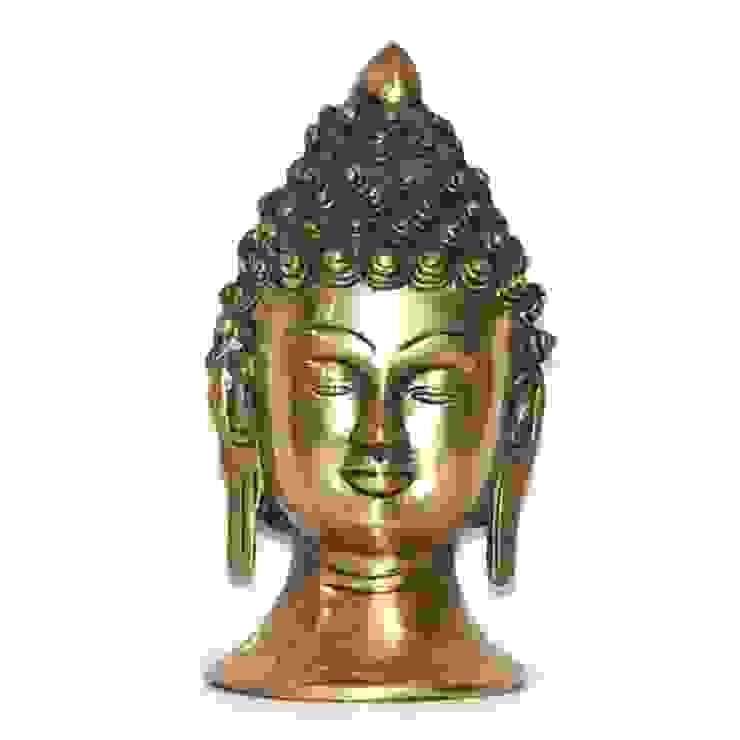 Antique Style Brass Buddha Head Sculpture by M4design
