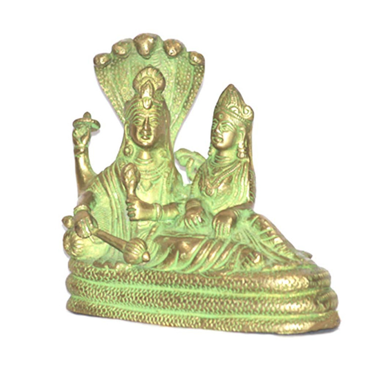 Divine Lord Vishnu Laxmi On Sheshnag Green Brass Sculpture: asian  by M4design,Asian