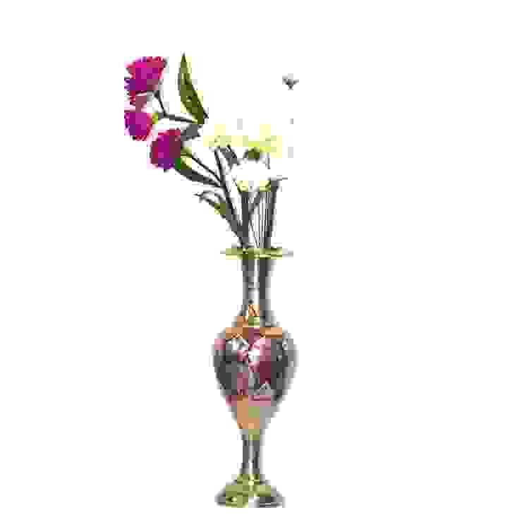 Brass Embossed & Enameled Flower Vase: asian  by M4design,Asian
