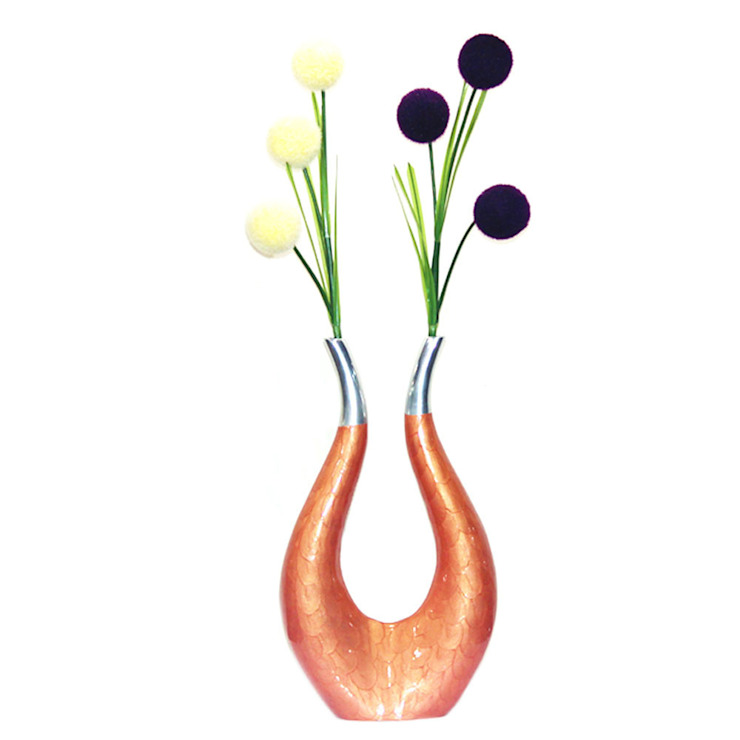 Enameled Horse Shoe Flower Vase: asian  by M4design,Asian