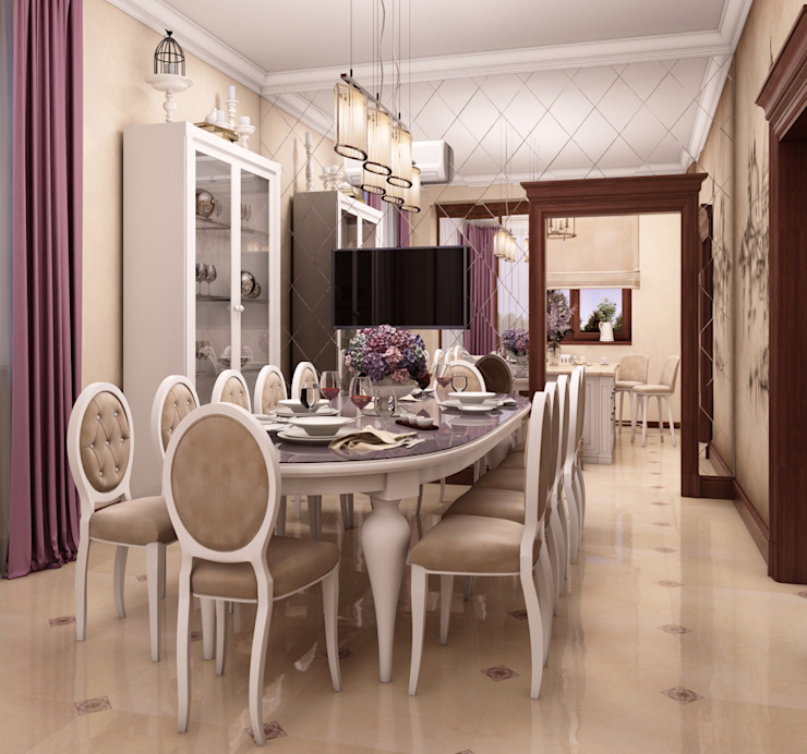 Дом в клубном посёлке: Столовые комнаты в . Автор – Студия дизайна 'New Art',
