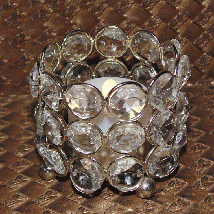 Round Crystal Tealight Holder/ Holiday Gifts: asian  by M4design,Asian