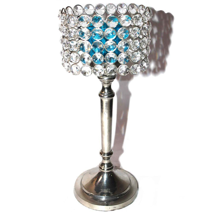 Crystal & Blue Glass Cylinder Candle Holders: asian  by M4design,Asian