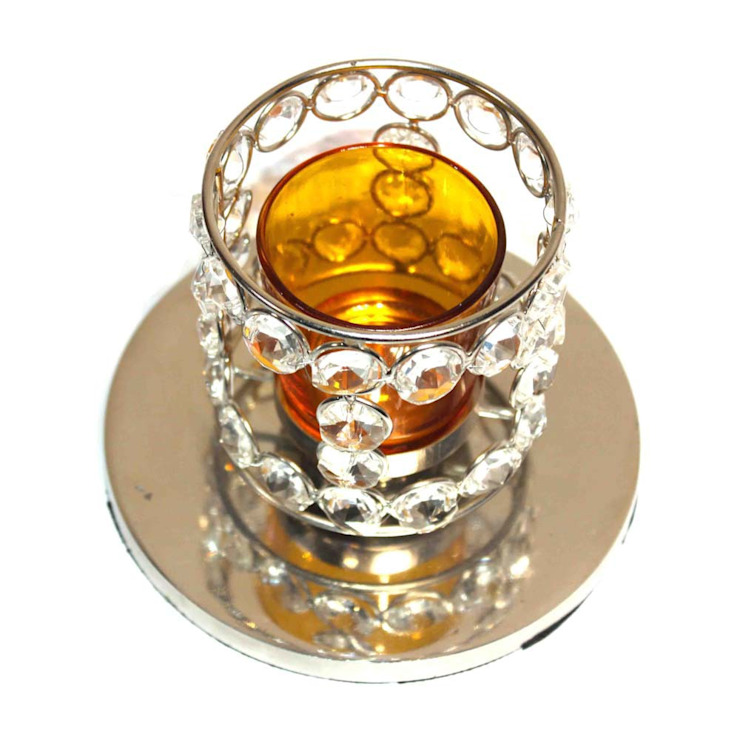 Crystal Beaded Amber Glass Tealight Candle Holder: asian  by M4design,Asian