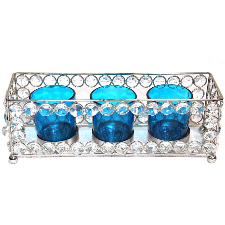 Crystal Frame Triple Blue Glass Tealight Holders: asian  by M4design,Asian