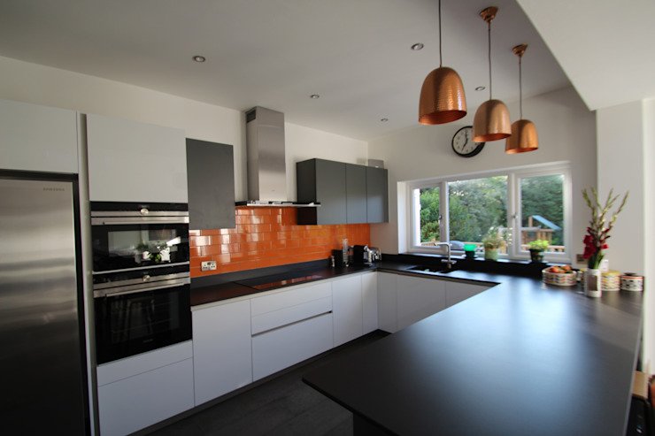 ​White and grey Schuller units with solid black Dekton worktops (by Cosentino) Modern kitchen by AD3 Design Limited Modern