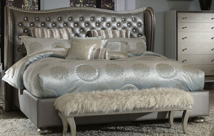 Queen Upholstered Bed metallic Oleh Royz Furniture Klasik