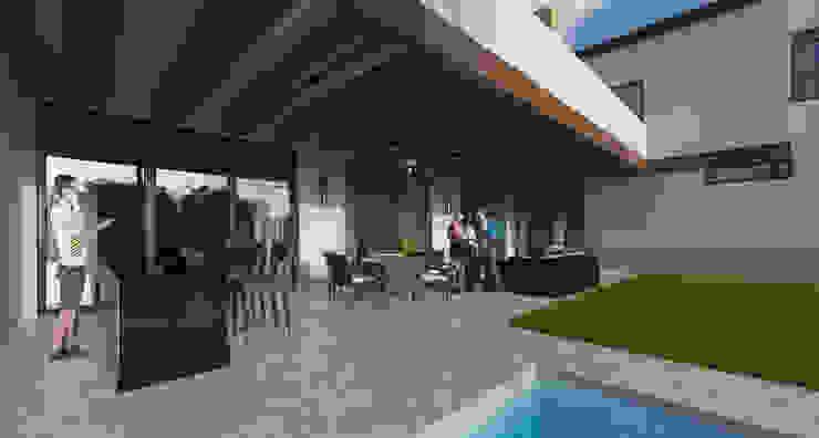 Terraza social de Eugenio Adame Arquitectos Moderno