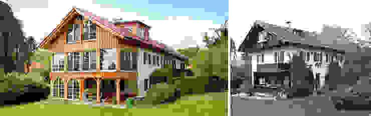 Ansicht von Nordosten vor und nach Sanierung von Planungsbüro Schilling Landhaus