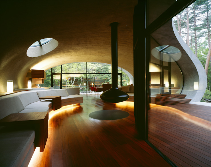 SHELL ARTechnic architects / アールテクニック Modern living room