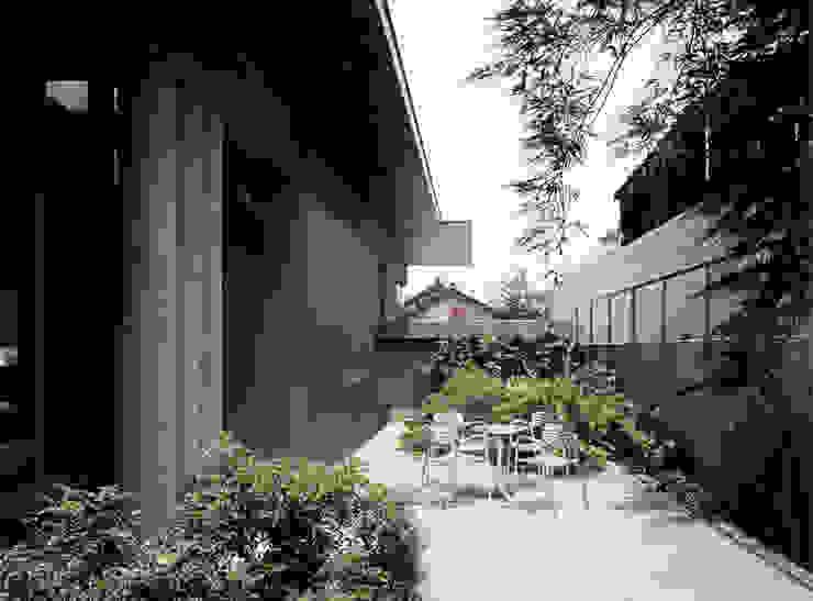 中庭からアプローチを見返した様子 モダンデザインの テラス の JWA,Jun Watanabe & Associates モダン