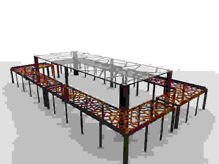Tavolo in acciaio corten e vetro a seduta unica di Design art Moderno