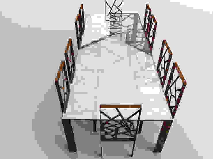 Tavolo in acciaio cor-ten e vetro di Design art