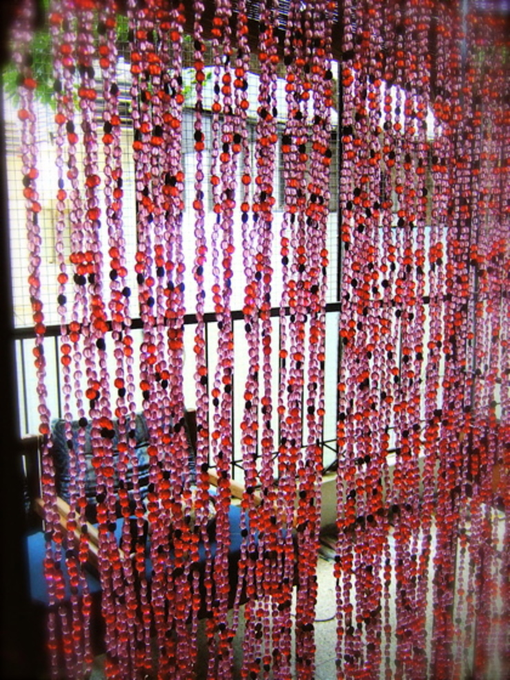 Pomegranate Purple-Red Gold Bead Curtain: rustic  by Memories of a Butterfly: bead curtains/screens/installations/Hanging Sculptures,Rustic