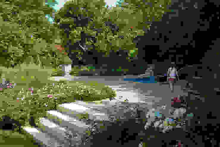 Reallizzazione zona spas con minipiscina idromassaggio di Pellegrini Giardini Moderno