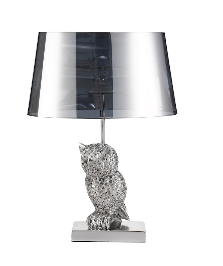 Animal Table Lamp Owl Chrome par Muno