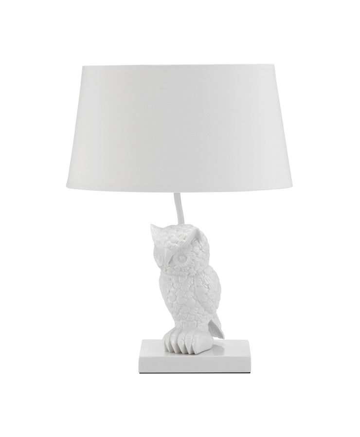 Animal Table Lamp Owl White par Muno