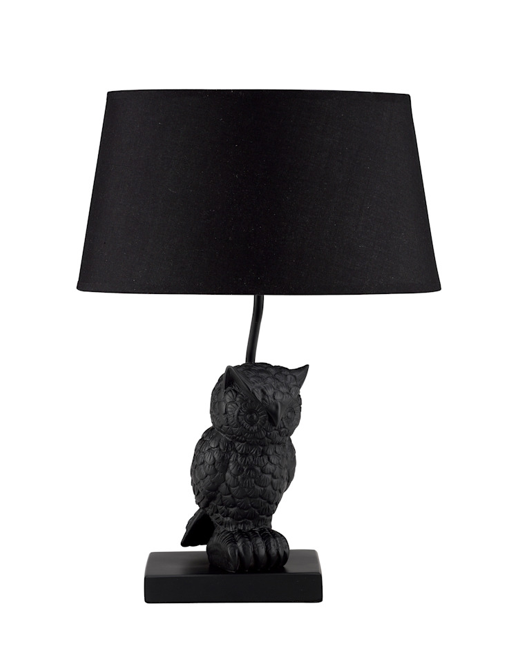 Animal Table Lamp Owl Left Black par Muno
