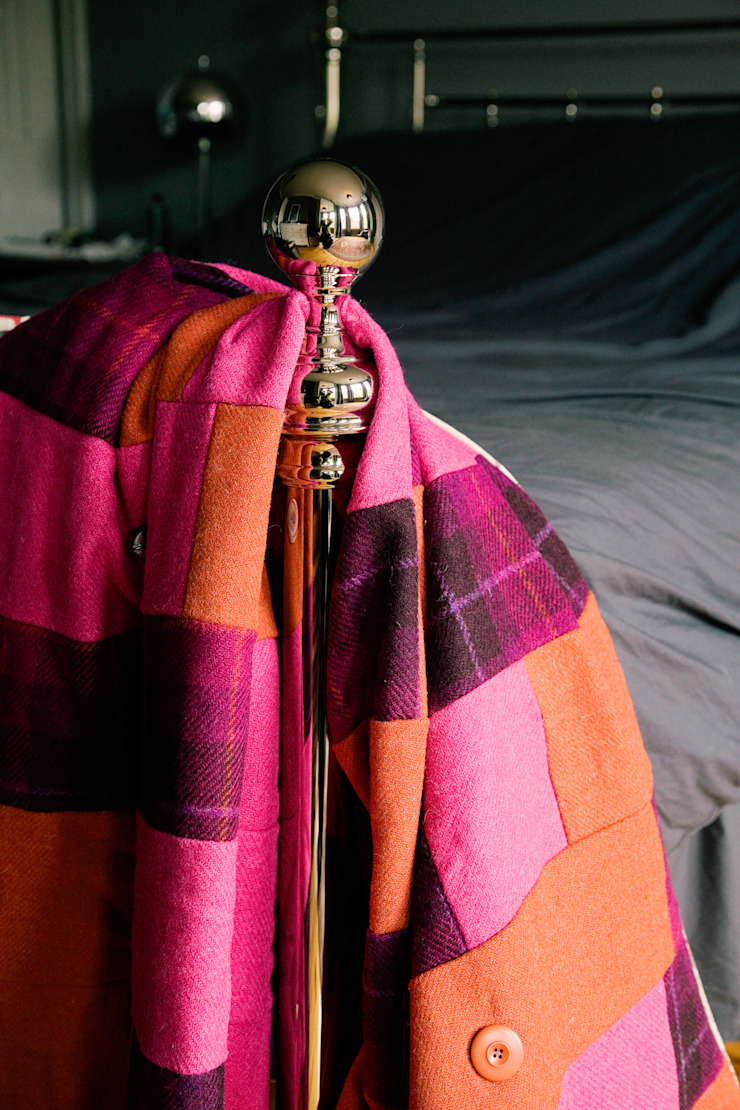 Bold orange, hot pink and purple tartan Harris tweed & brown mole velvet quilt : eclectic  by Quilts by Lisa Watson, Eclectic