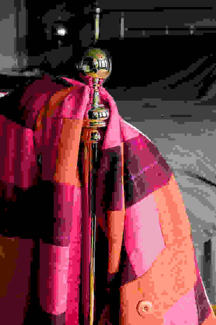 Bold orange, hot pink and purple tartan Harris tweed & brown mole velvet quilt Quilts by Lisa Watson BedroomTextiles