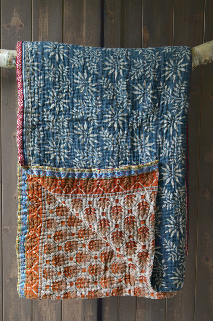 Kantha quilt made from vintage saris: asian  by http://www.decoratorsnotebook.co.uk/, Asian