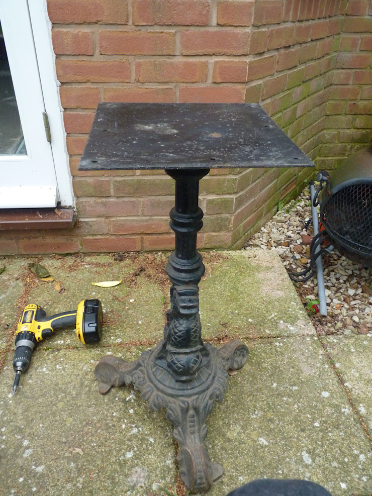 Victorian Bar Table mid Transformation by Stone Smart