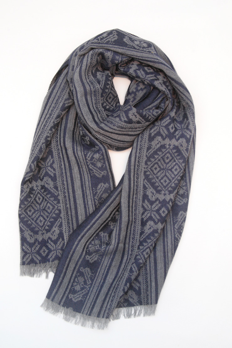 Hungarica :: Mens Cashmere Scarf :: Grey / Navy  : classic  by Julia Brendel Limited, Classic