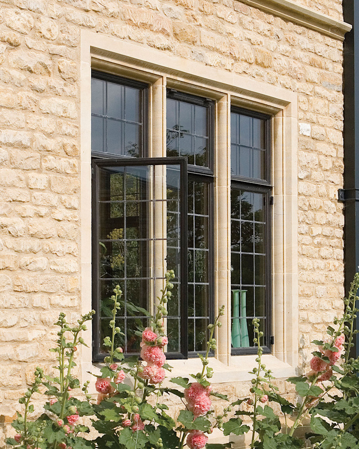 Stone New Build with Advanced Bronze Casements Architectural Bronze Ltd Windows & doorsWindows Metal Black
