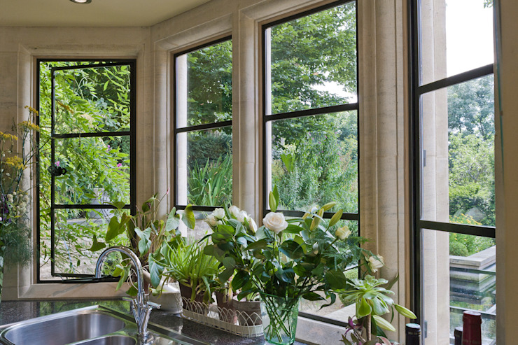 Kitchen with Heritage Bronze Casements Architectural Bronze Ltd Windows & doors Doors Metal Black