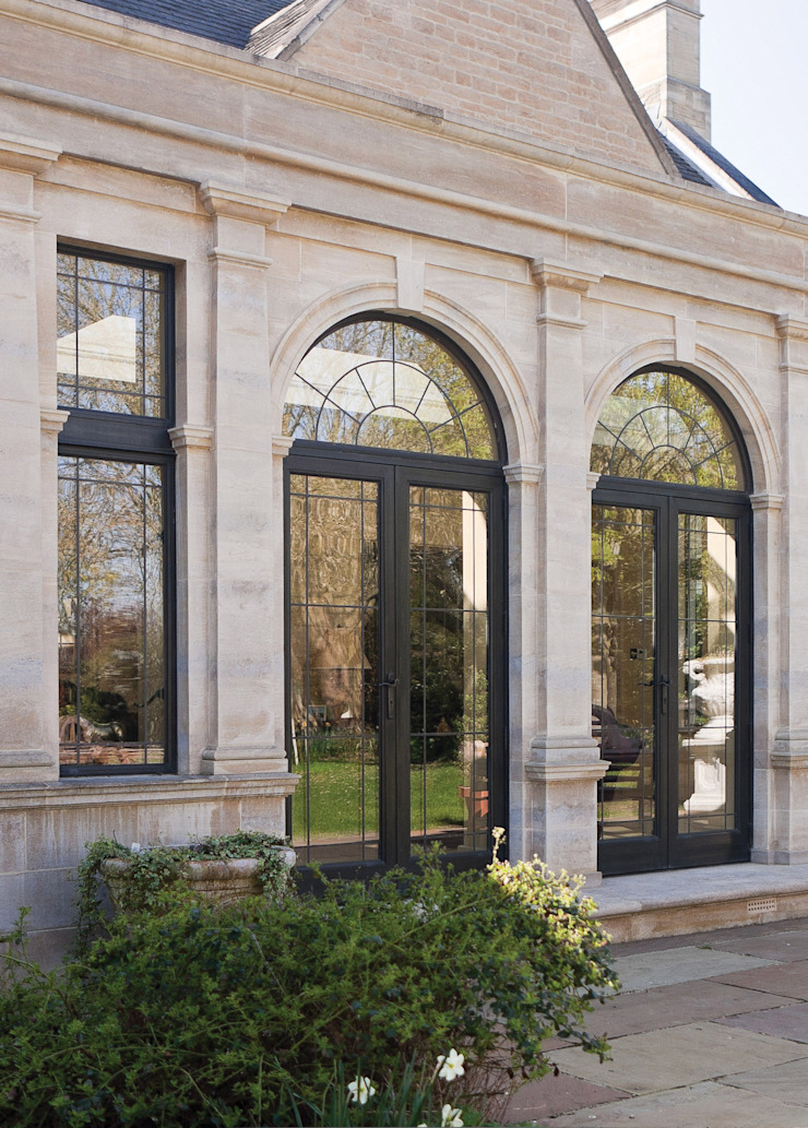 Bronze Double Doors with Arched Leaded Fanlight Architectural Bronze Ltd Finestre & PortePorte Metallo Nero