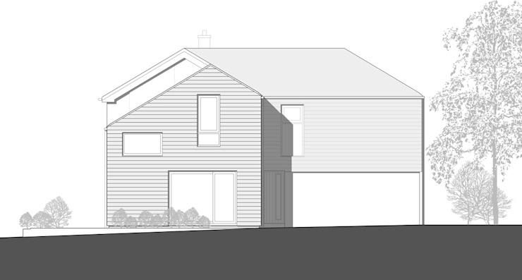 East Elevation Drawing of Two Storey & Over-Garage Extension by ArchitectureLIVE
