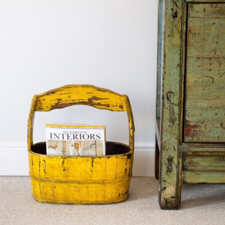 Lacquered Yellow Storage Bucket by Orchid