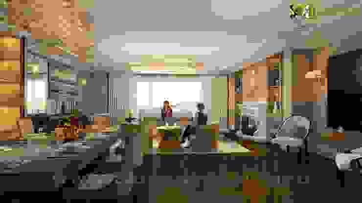 Living Room Interior Design Rendering: modern  by Yantram Architectural Design Studio, Modern