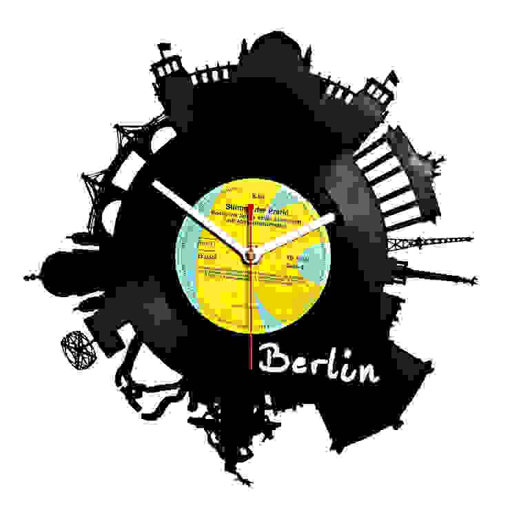 Uhr Schallplatte Berlin Skyline: modern  von citybomb.de,Modern