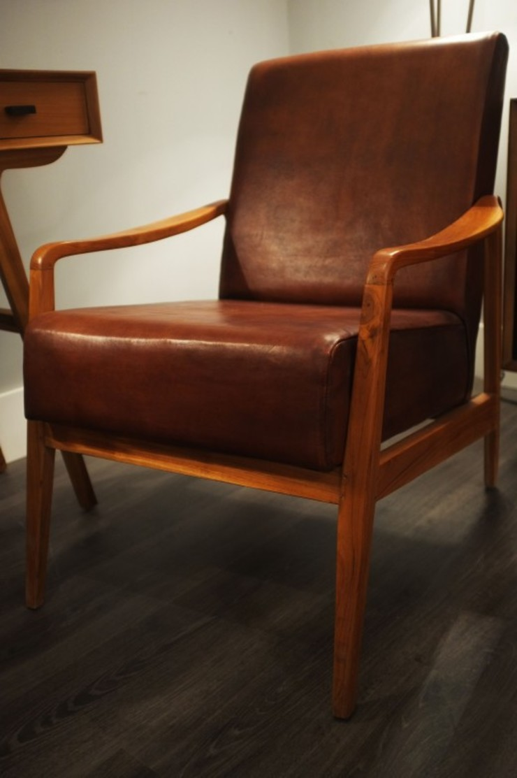 Low Slung Mid Century Style Leather Chair by Cambrewood