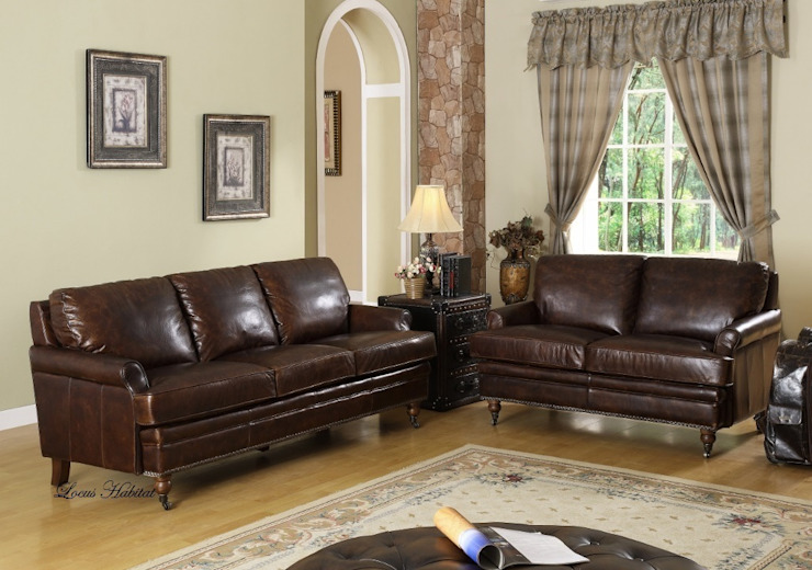 Leather Sofa from: LOCUS HABITAT Country style living room by Locus Habitat Country