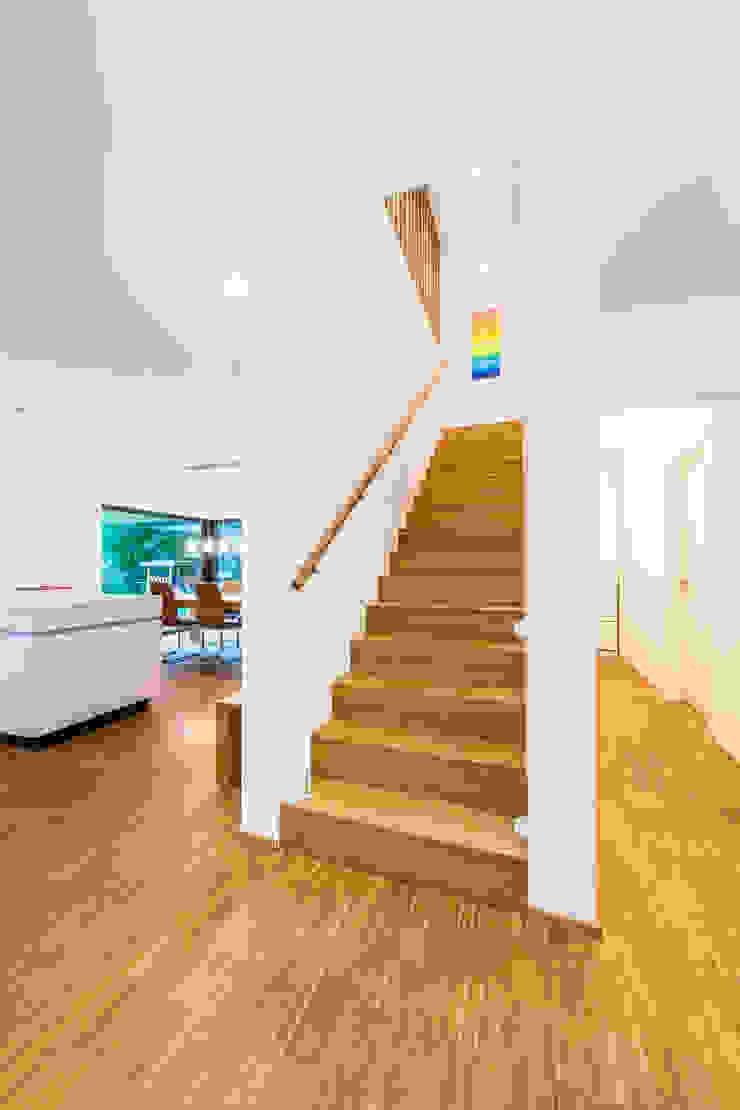 Balanced House – Einfamilienwohnhaus in Weinheim Moderner Flur, Diele & Treppenhaus von Helwig Haus und Raum Planungs GmbH Modern